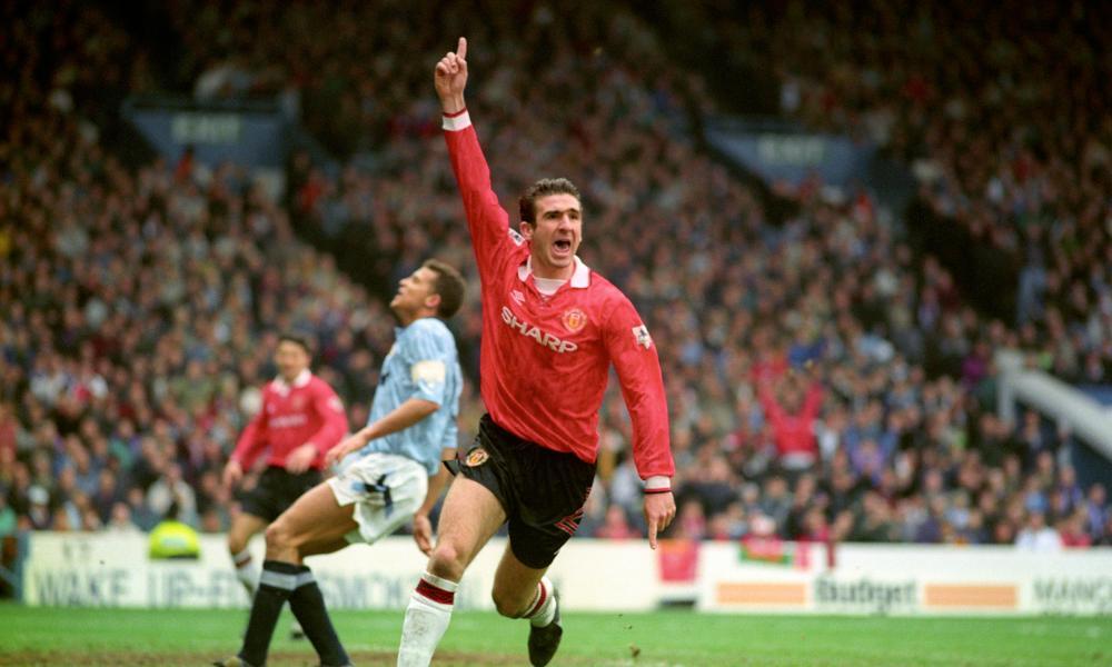 'A new hero was needed to defibrillate football' … Eric Cantona celebrates scoring for Man Utd in the Premier League's inaugural season.