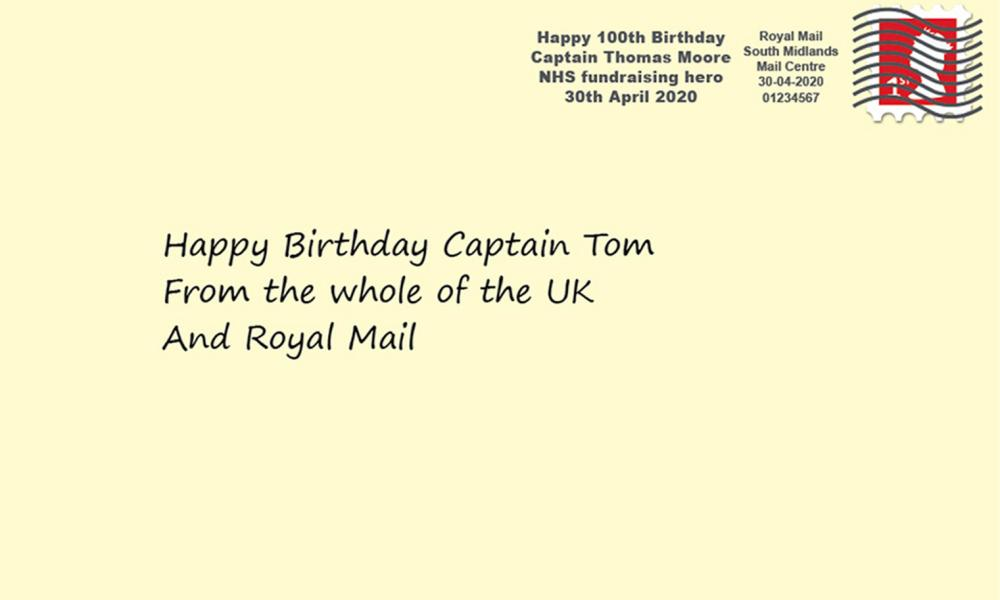 Royal Mail artist impression of what the special postmark to celebrate the upcoming 100th birthday of NHS fundraiser Captain Tom Moore will look like.