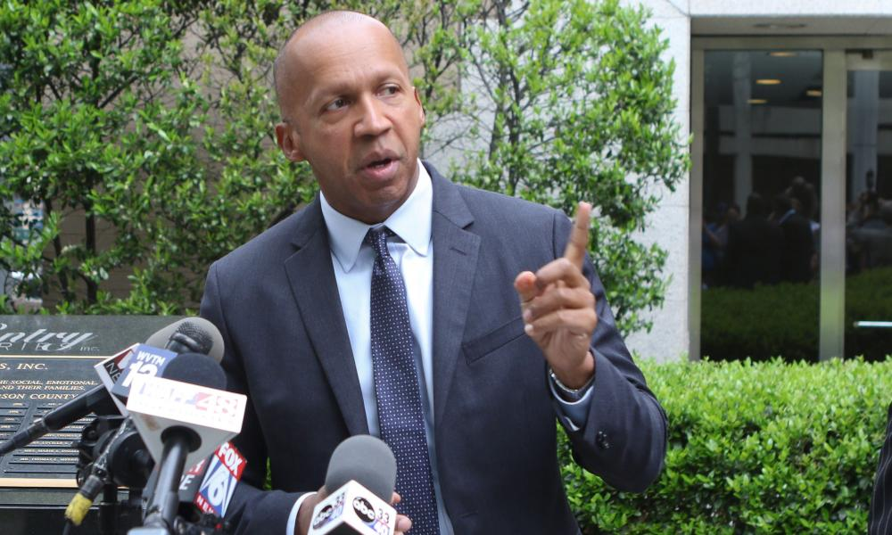 Speaking up: Equal Justice Initiative lawyer Bryan Stevenson speaks to the media after the release of Anthony Ray Hinton. He worked on Hinton's case for 16 years.