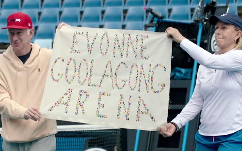 Martina Navratilova takes fight on-court for name change to Evonne Goolagong Arena