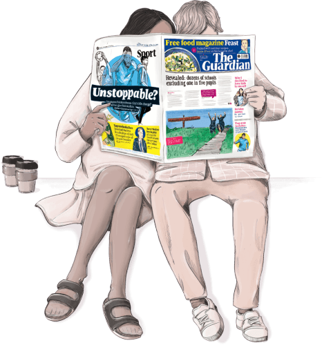 A couple sit together sharing one newspaper