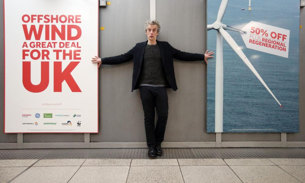 Actor Peter Capaldi at Westminster tube station where Greenpeace, WWF and the Marine Conservation Society have launched a new campaign supporting offshore wind as the future for UK energy