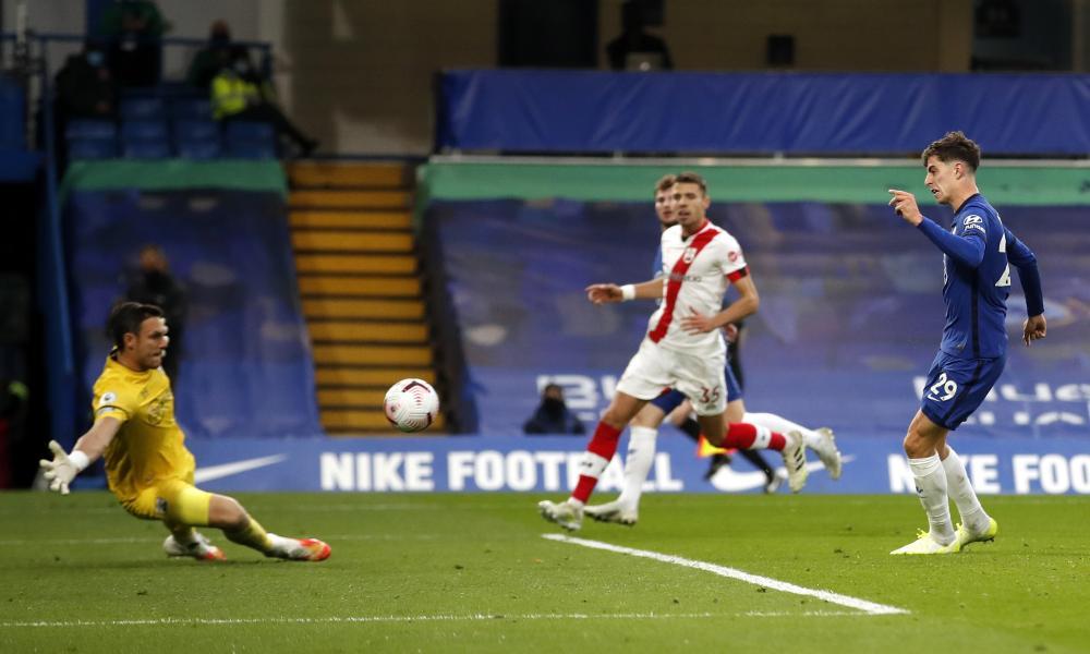 Havertz beats McCarthy to score Chelsea's third goal