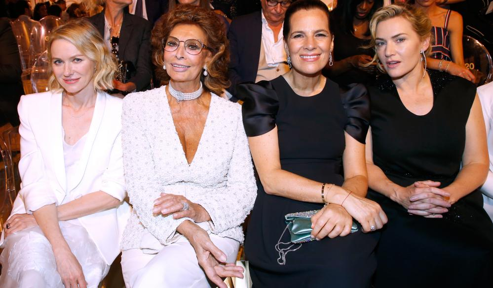Naomi Watts, Sophia Loren, Roberta Armani and Kate Winslet on the front row at Armani.