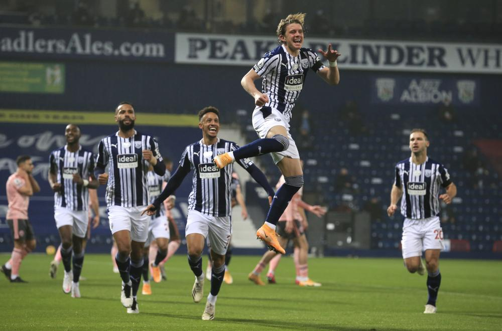 Conor Gallagher celebrates after scoring what proved to be the winner for West Brom.