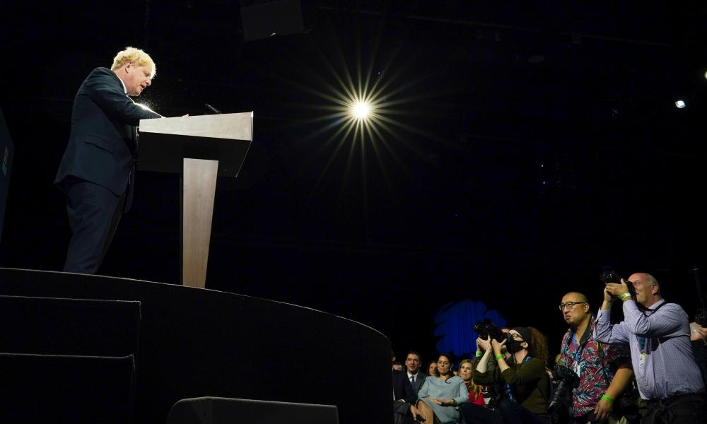 Boris Johnson addresses the Conservative party conference in Manchester on 6 September