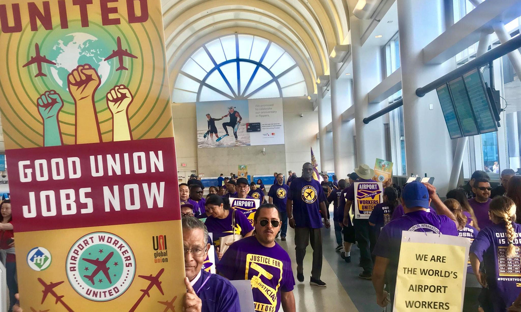 US airport workers struggle to make ends meet as industry profits soar