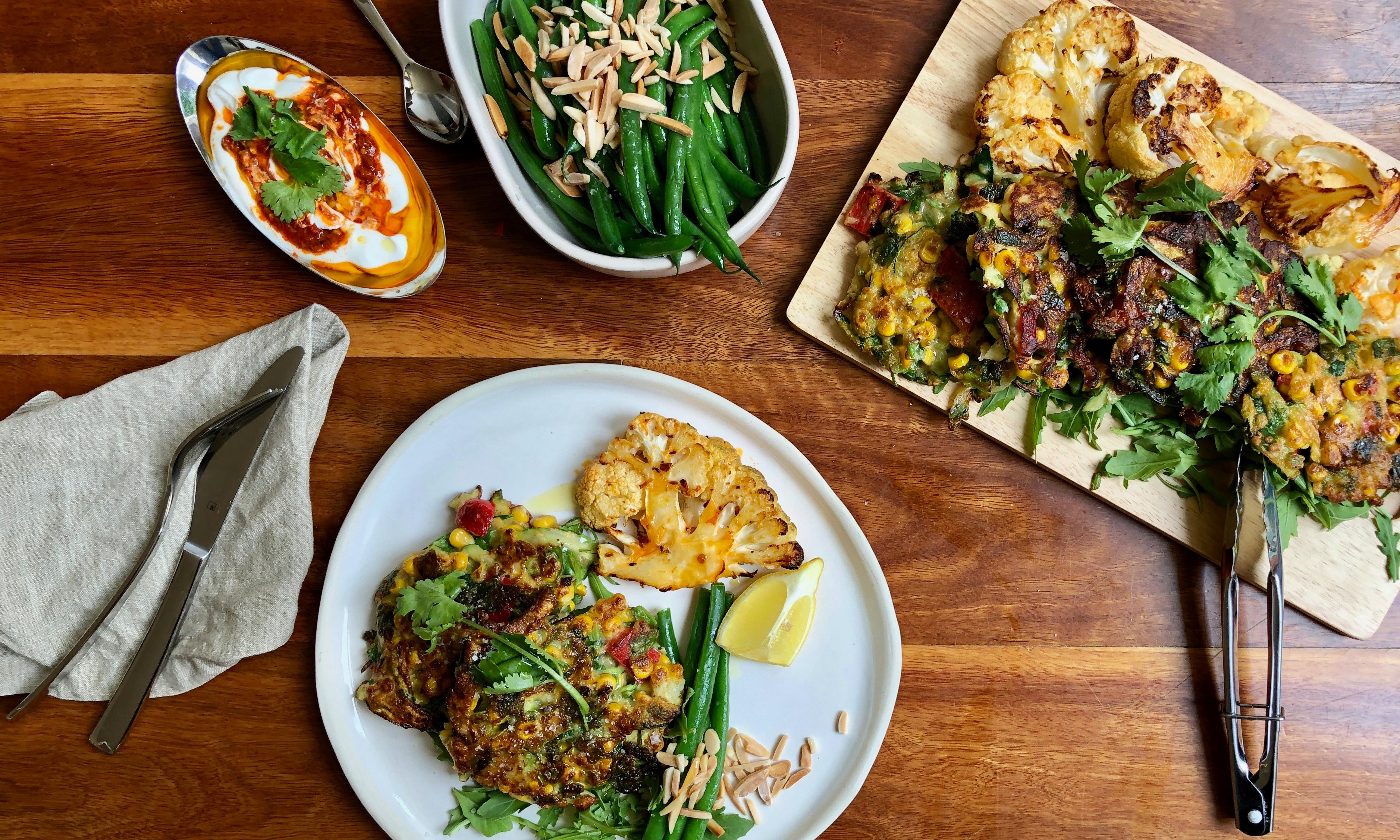 30-minute meal: corn and zucchini fritters with harissa cauliflower steak recipe