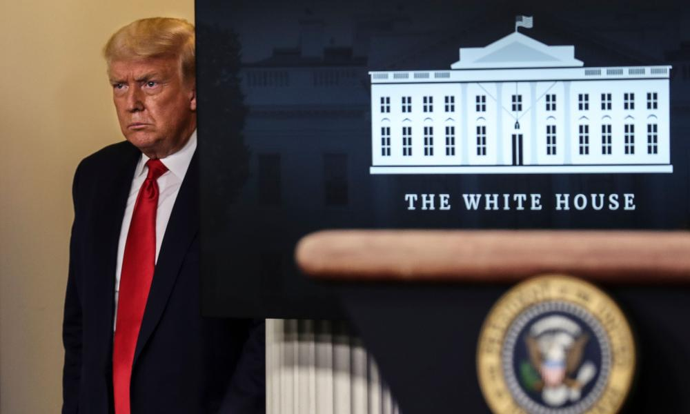 US President Donald Trump arrives to speak during a press briefing in the Brady Press Briefing Room of the White House in Washington, DC, 28 Jul 2020.