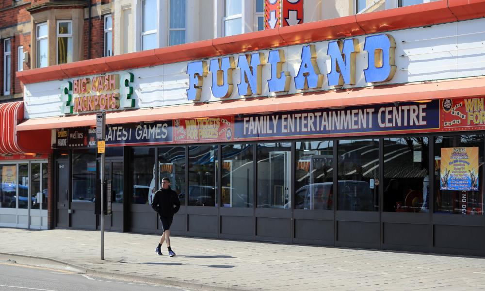A deserted arcade in Skegness in East Lindsey – another area which is most at risk from job losses – during the lockdown.