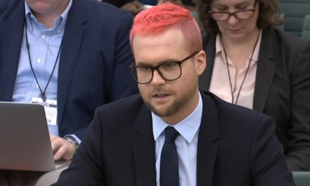 Christopher Wylie giving evidence to the culture committee.
