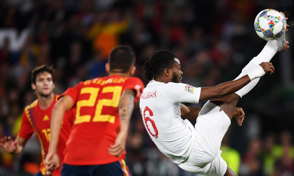 Nathaniel Chalobah clears the ball on his England debut against Spain in the Nations League on Monday.