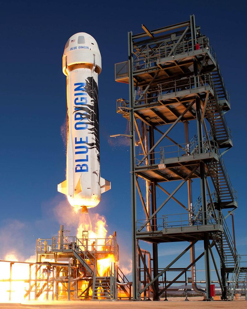 jeff bezos's blue origin rocket takes off on a suborbital test flight