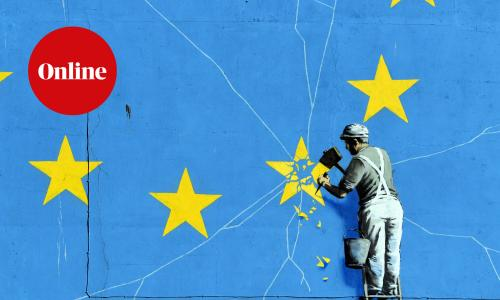 Brexit inspired mural by anonymous British street artist Banksy depicting the European flag in Dover, Britain, 15 February 2019. The graffiti that appeared on a building near Dover's ferry terminal shows a worker removing one of the 12 stars from the EU flag.