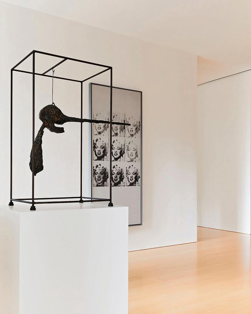 Giacometti's Le Nez and Warhol's Nine Marilyns.