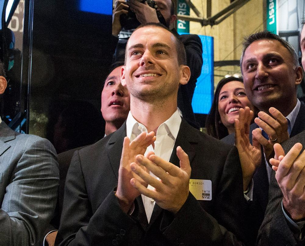 Twitter co-founder Jack Dorsey at the company's launch on the New York Stock Exchange, 2013