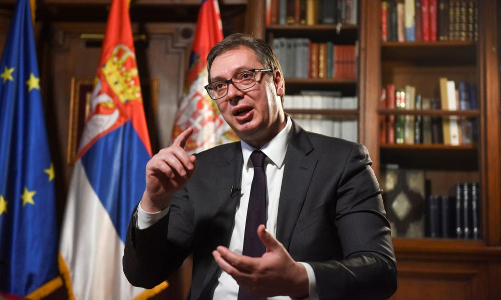Serbian president Aleksandar Vucic speaks during an interview with Reuters in Belgrade, Serbia, today.
