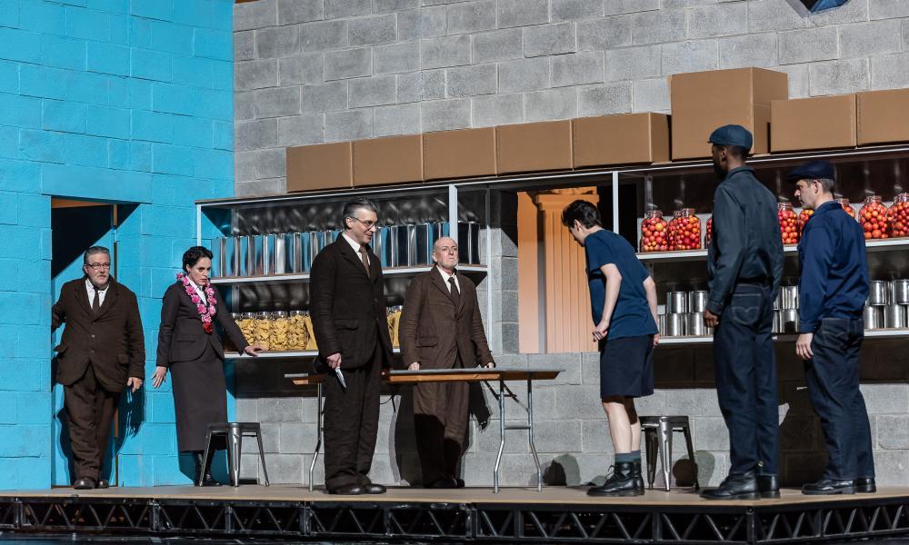 Jeremy White (senator), Nicole Chevalier (Vitellia); Joshua Bloom (Publio); George Freeburn (senator); and Emily D'Angelo (Sesto) in La Clemenza di Tito at the Royal Opera House