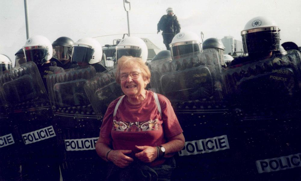 Chanie Rosenberg at the anti-capitalist protests at the IMF and World Bank summit in Prague in 2000