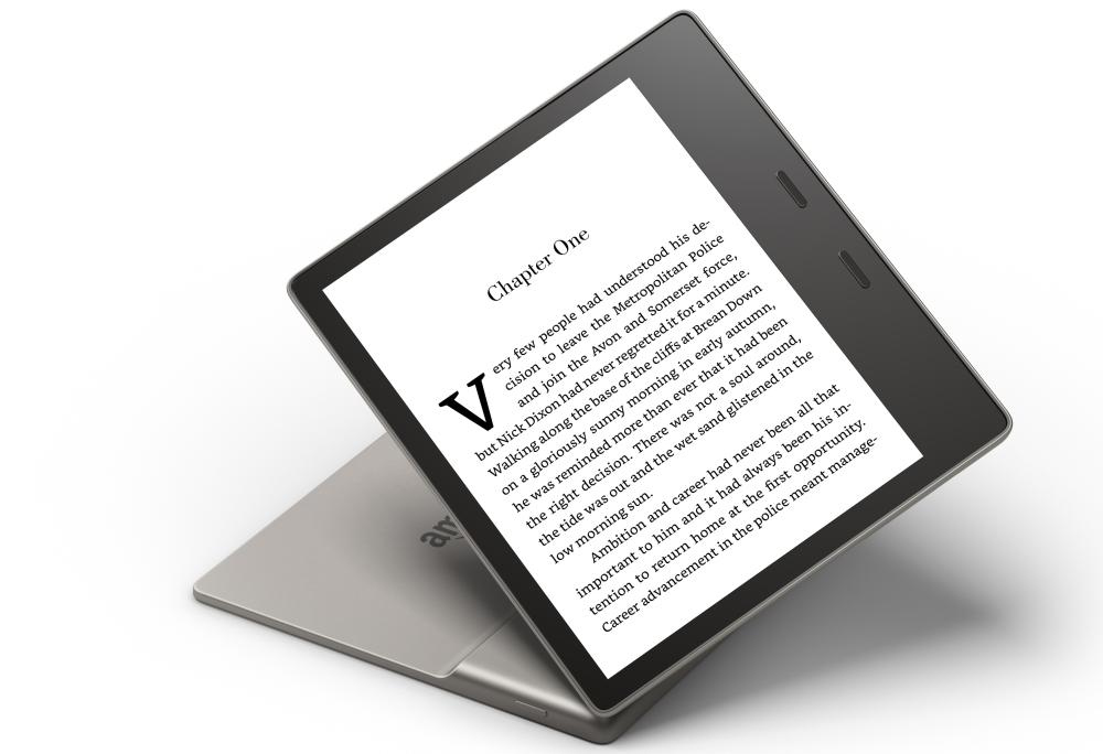 The new aluminium body of the 2017 Kindle Oasis tapers to just 3.4mm thick.