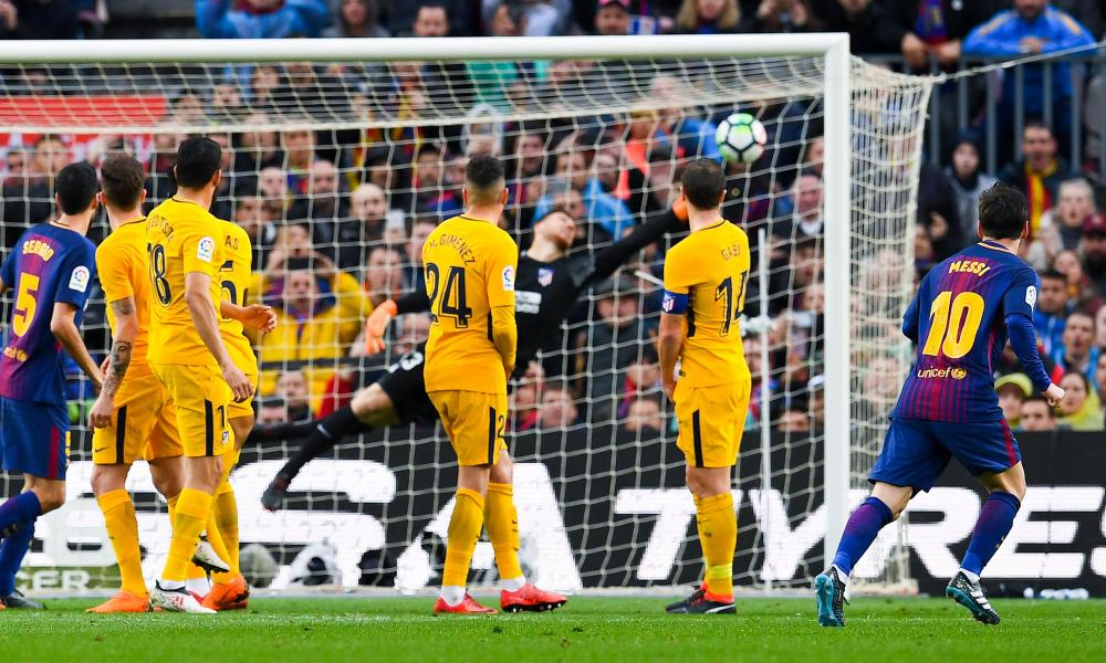 Lionel Messi scores the goal that effectively secured the title for Barcelona.