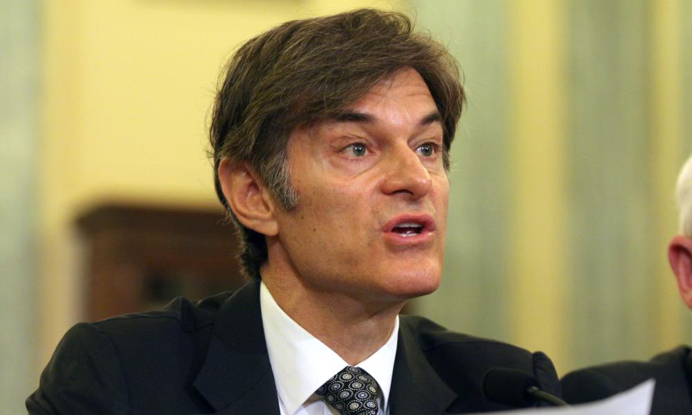 "Dr. Mehmet Oz, whose colleagues accuse him of an ""egregious lack of integrity,"" testifies on Capitol Hill in Washington in June 2014."