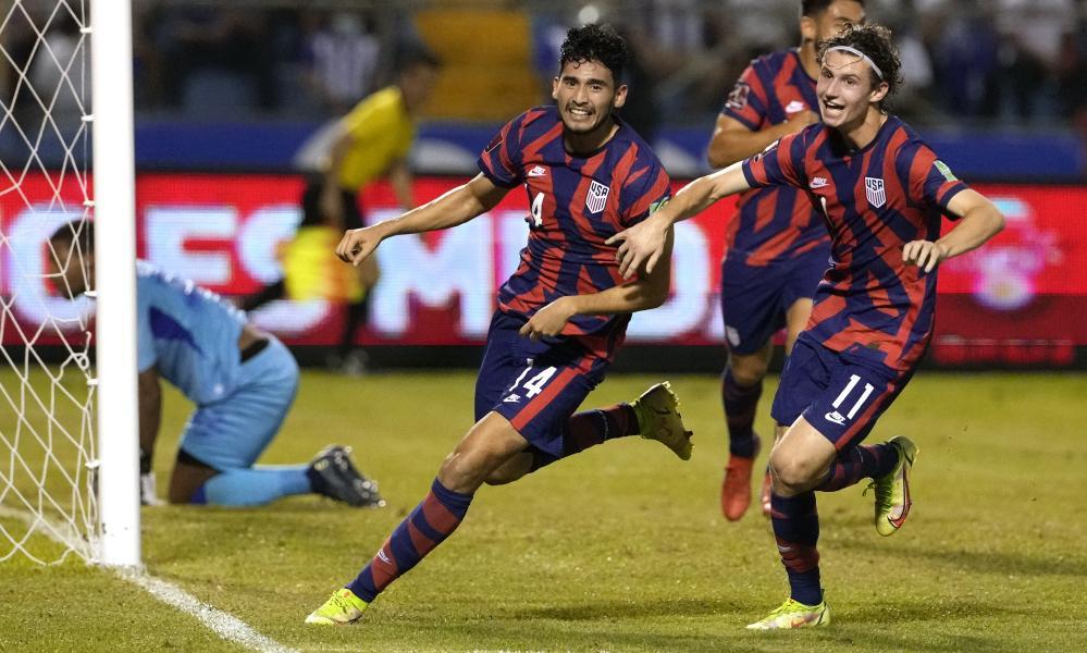 Ricardo Pepi (left) celebrates scoring his side's second goal against Honduras