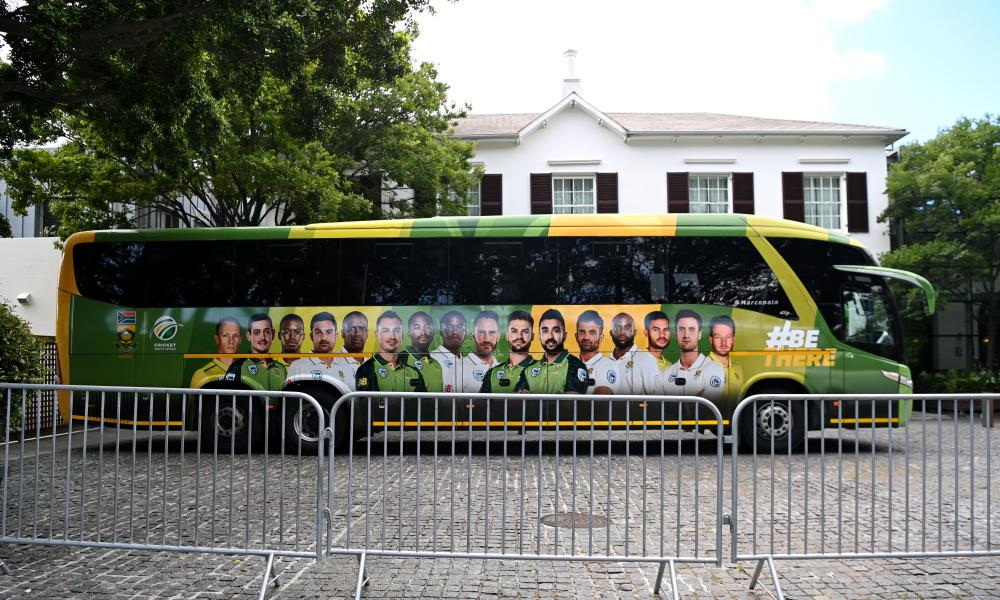 South Africa's team coach sits outside the Vineyard hotel in Cape Town, where both they and England had been staying during the T20 and ODI series.