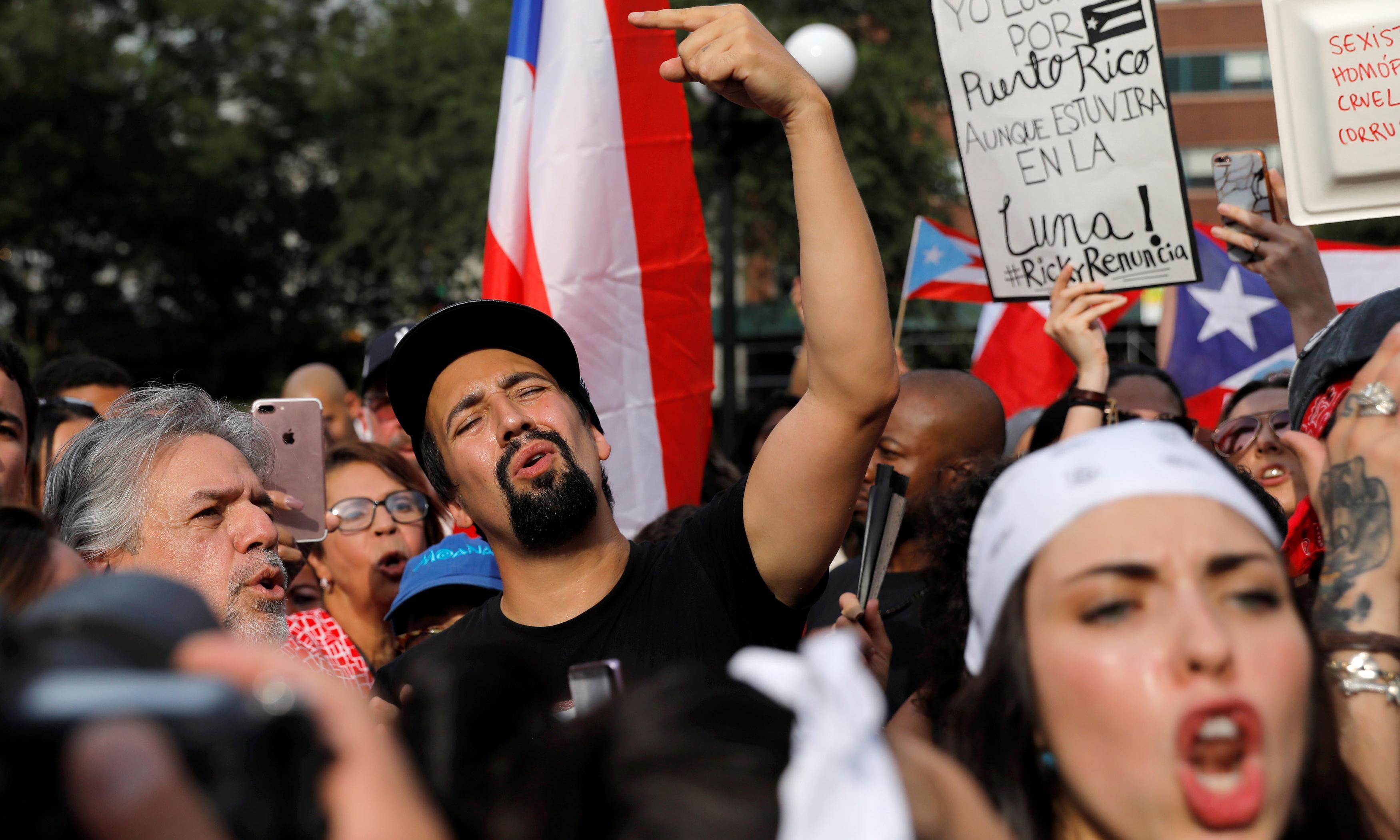 Lin-Manuel Miranda joins diaspora protests against Puerto Rico governor