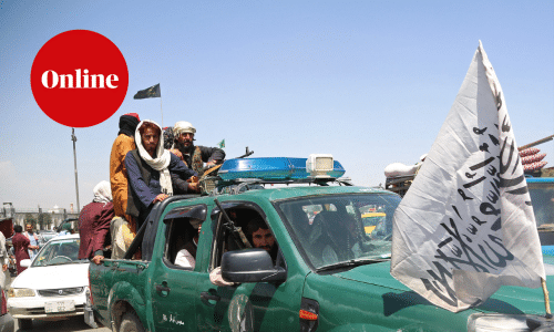 Taliban fighters patrol the streets of Kabul on August 16, 2021, after a stunningly swift end to Afghanistan's 20-year war, as thousands of people mobbed the city's airport trying to flee the group's feared hardline brand of Islamist rule. (Photo by Zakeria HASHIMI / AFP) (Photo by ZAKERIA HASHIMI/AFP via Getty Images)