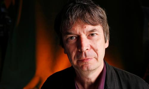 Crime writer Ian Rankin seen before speaking at the Edinburgh International Book Festival. 20 August 2015.