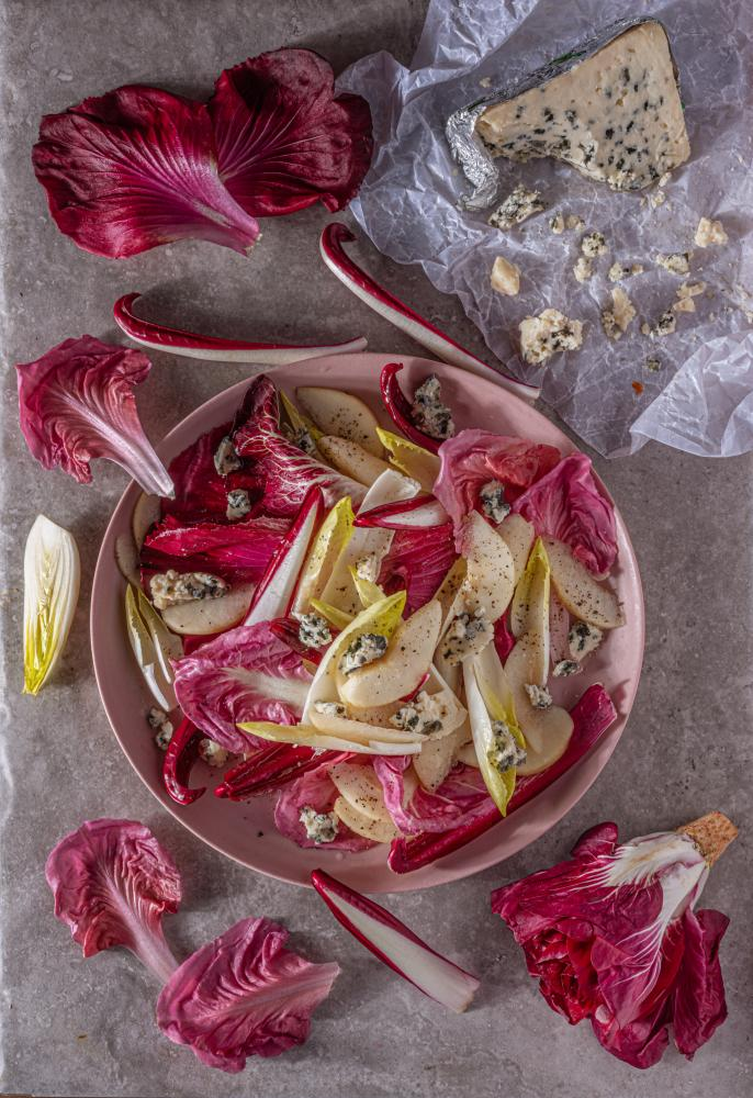 Roquefort salad with pears, chicory and walnut oil, by Simon Hopkinson. Food styling: Henrietta Clancy