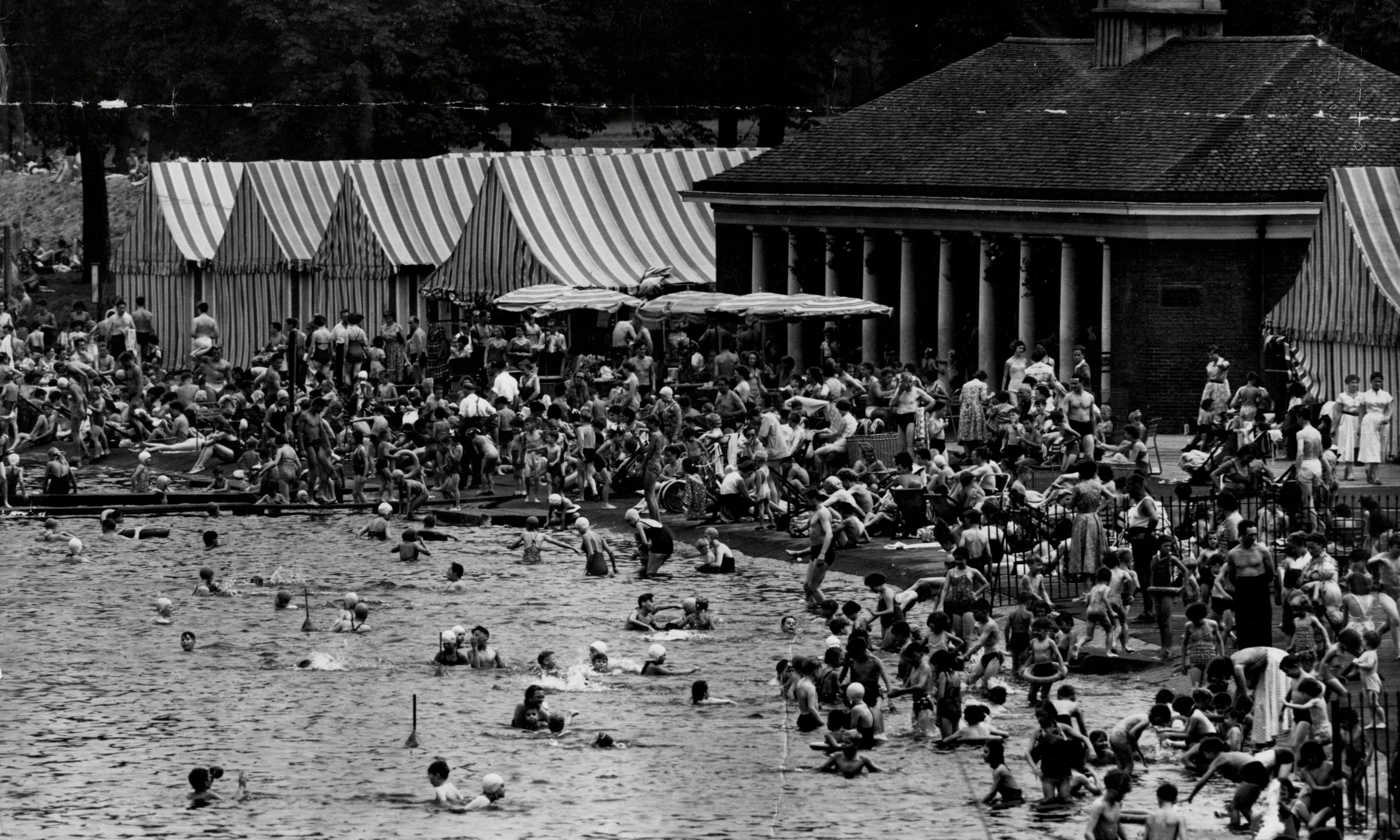 London's public swimming pools: bathing, sun terraces and cafes - archive, 22 August 1938