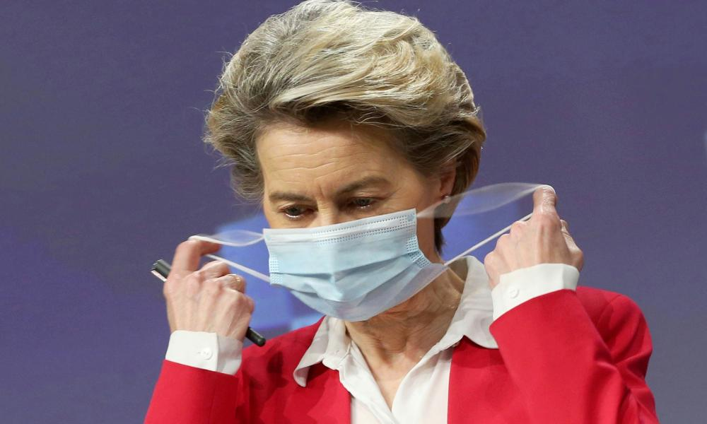 European commission president, Ursula von der Leyen holds a news conference on vaccine strategy in Brussels on 8 January