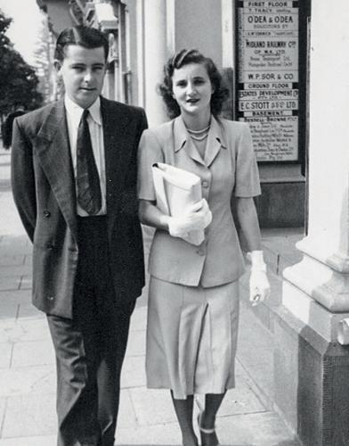 James and Sheila Cruthers in St Georges Terrace, Perth, in the early 1950s.