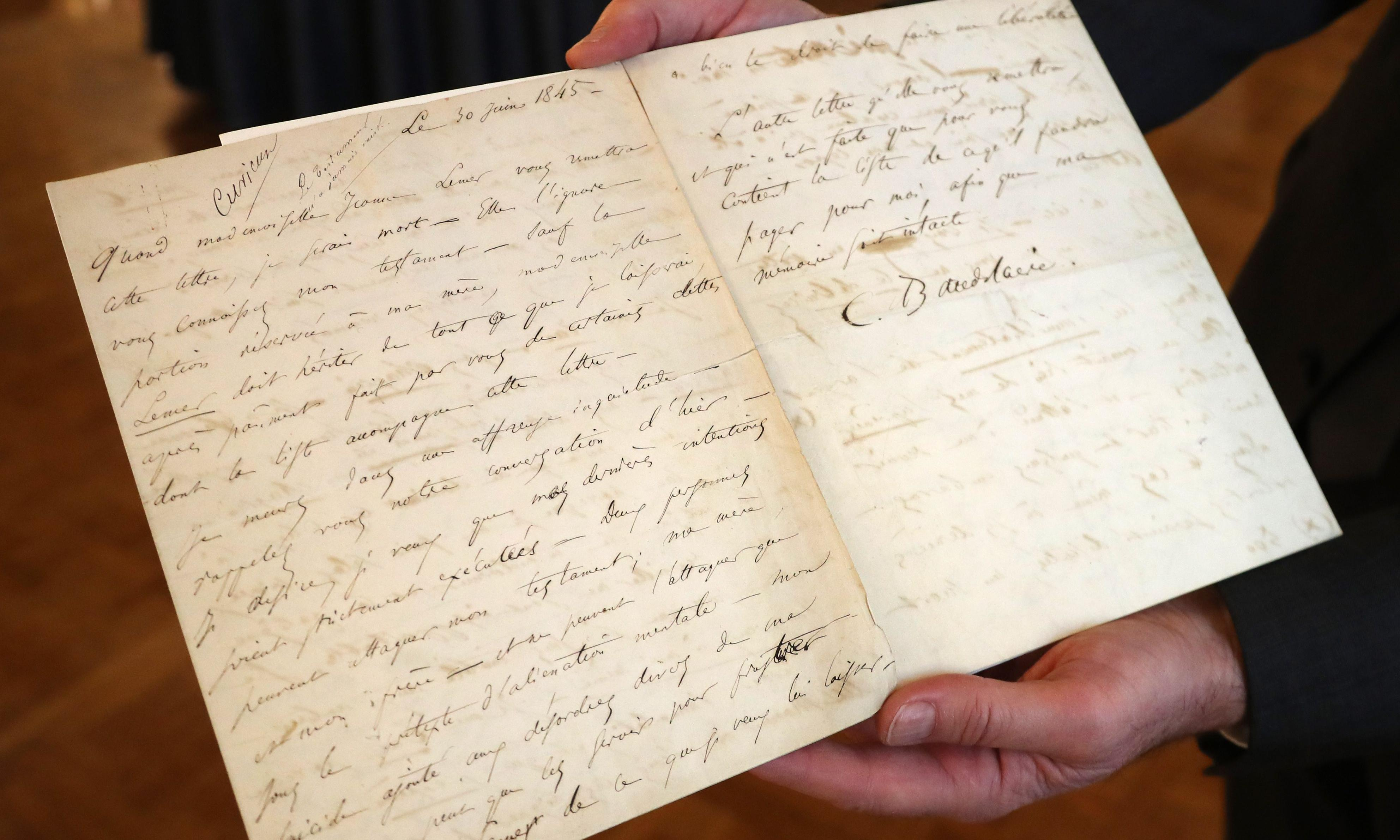 Baudelaire suicide letter fetches three times estimated price at auction