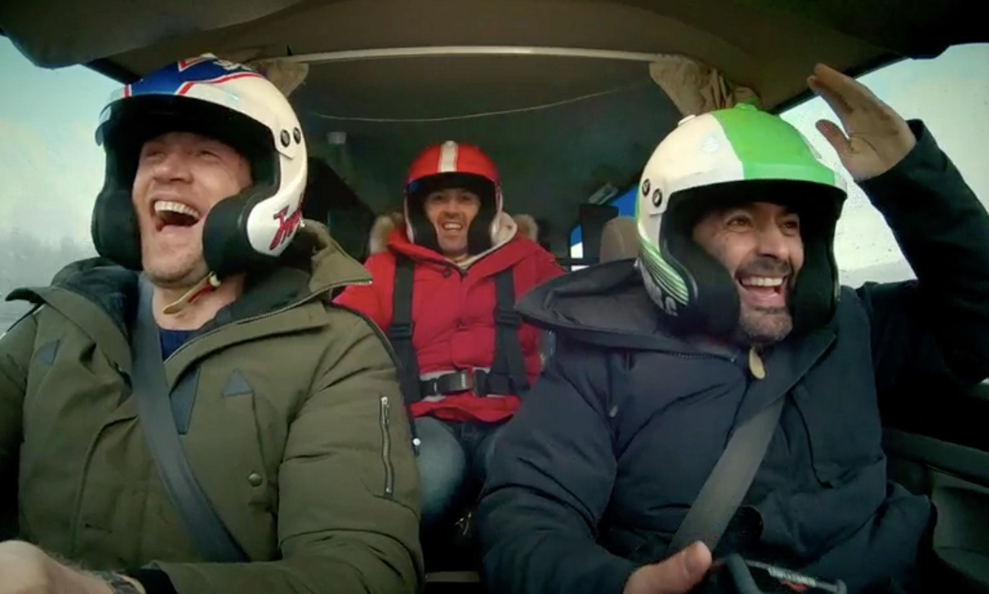 Freddie Flintoff and Paddy McGuinness hit Top Gear ... in hearse