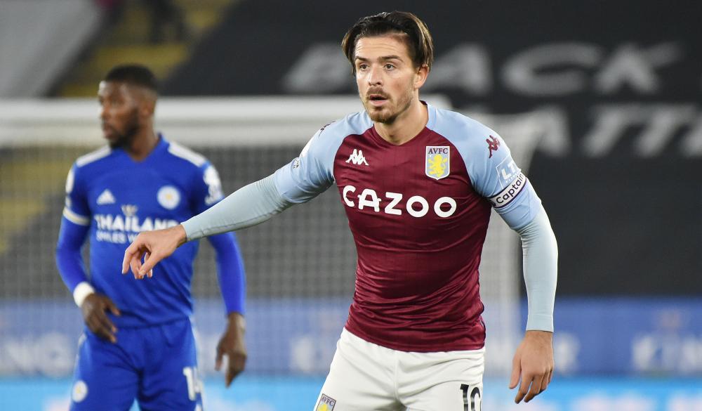 Jack Grealish of Aston Villa looks for possession.