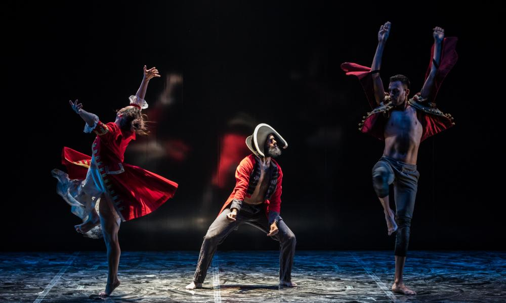 Tara Robertson, Beau Dean Riley Smith and Kaine Sultan-Babij performing Bennelong, for Bangarra Dance Company, at the Sydney Opera House, June 2017.