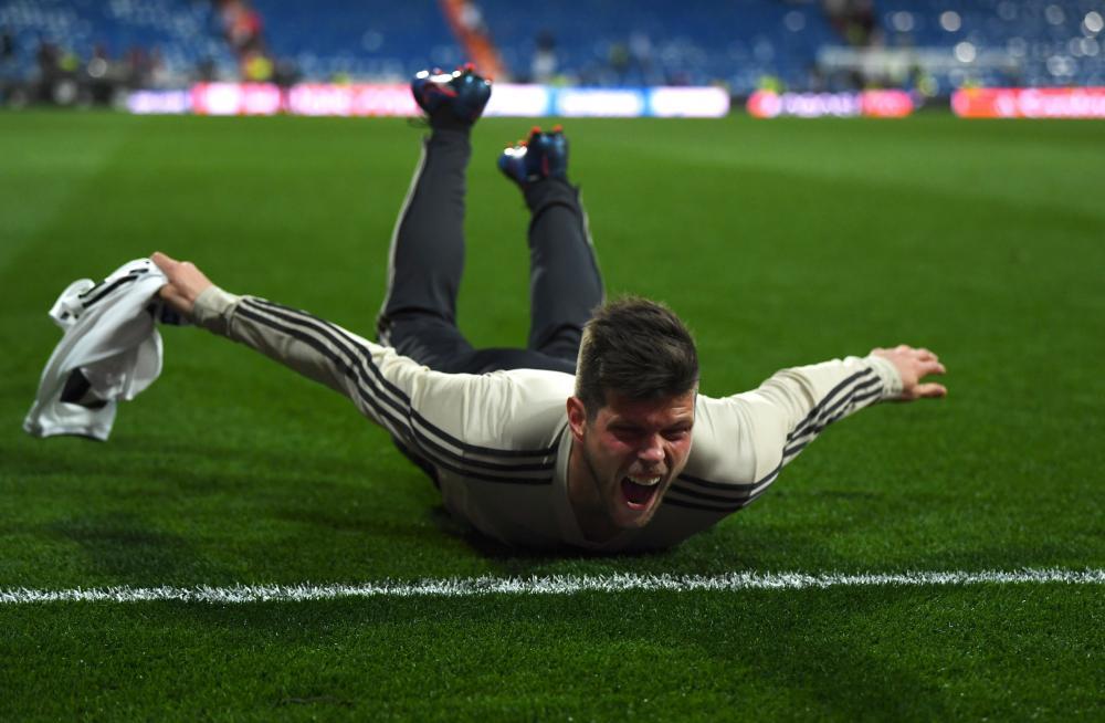 Klaas Jan Huntelaar of Ajax celebrates victory.