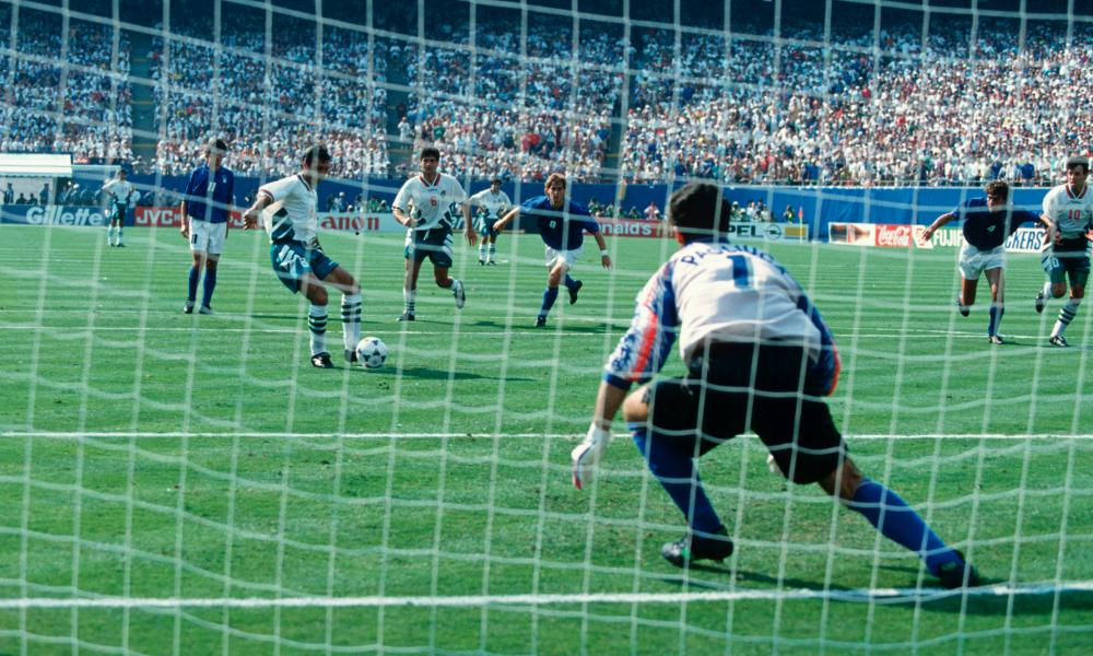 Hristo Stoitchkov scores for Bulgaria from the penalty spot in the semi-final against Italy.