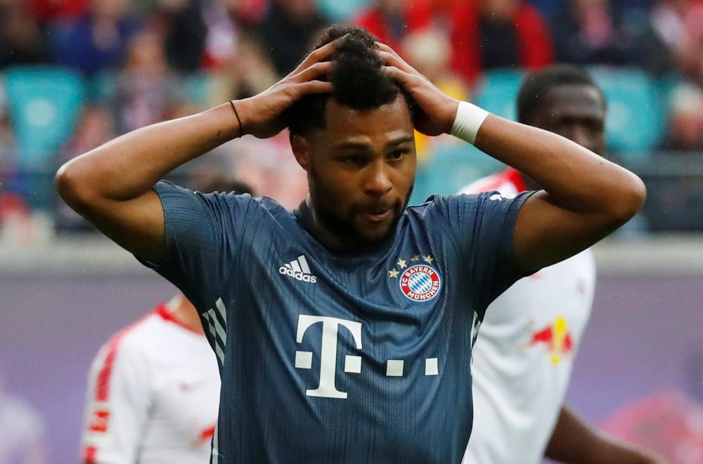 Bayern Munich's Serge Gnabry reacts after being thwarted by Leipzig keeper Peter Gulacsi.