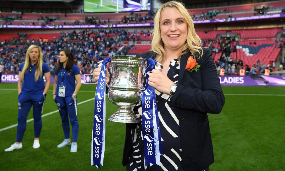 Emma Hayes shows off the Women's FA Cup after the 3-1 victory over Arsenal at Wembley earlier this month.