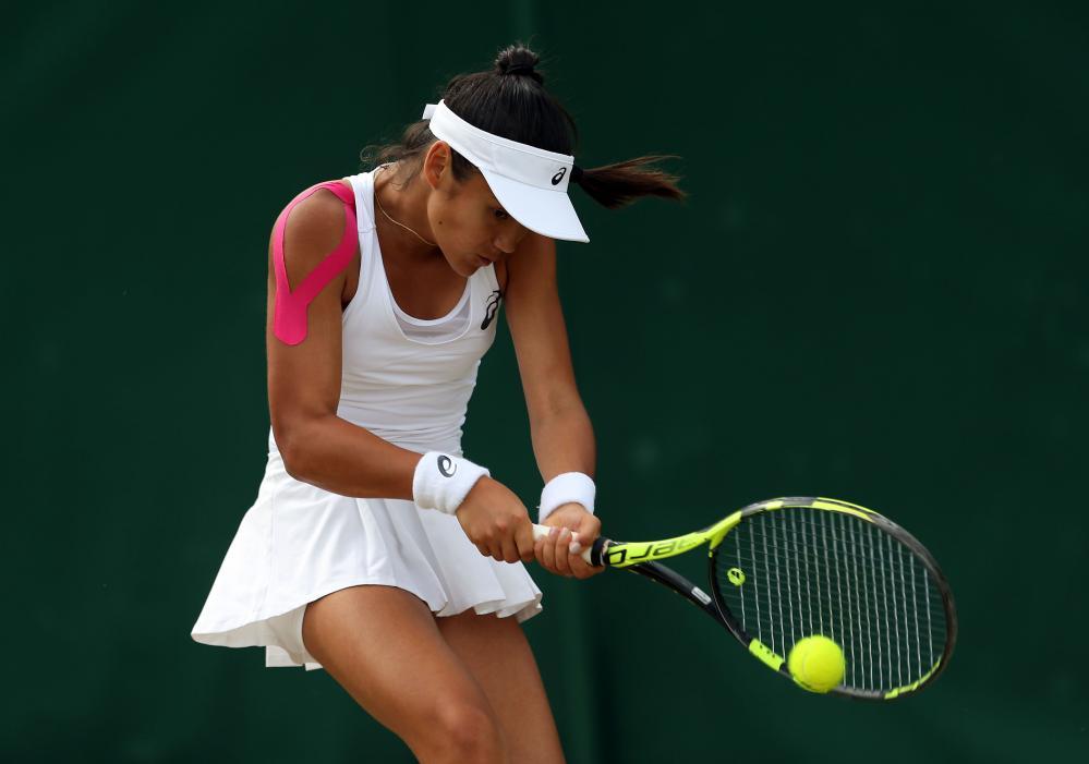 Emma Raducanu aged 14, in the girls' singles at Wimbledon in 2017.