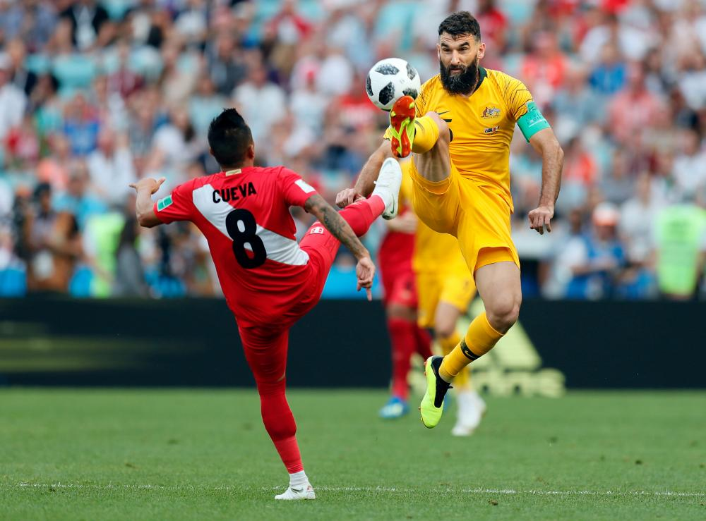 Mile Jedinak, seen here against Peru.