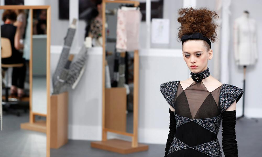 A model at the Chanel show in Paris