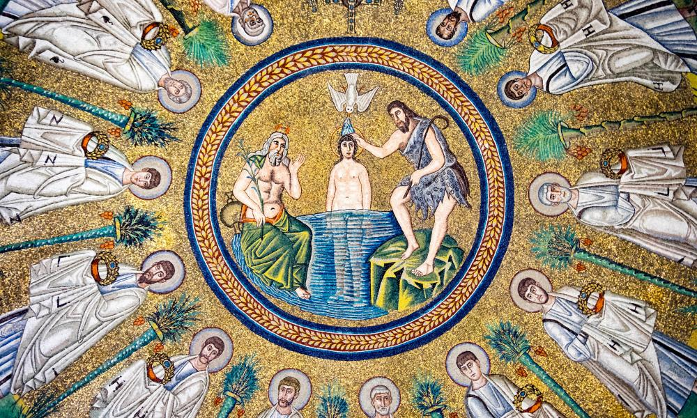 Mosaic of the baptism of Jesus, in the Arian Baptistry of Ravenna.