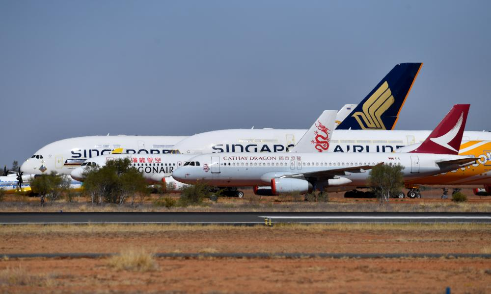 Aircraft grounded due to the Covid pandemic parked at the Asia Pacific Aircraft Storage facility in Alice Springs