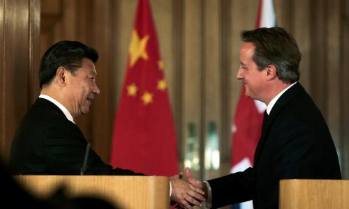 David Cameron, the British Prime Minister (right), shakes hands with Chinese President Xi Jinping during a joint news conference on 21 October 2015. China vowed to finance one-third of Britain's first nuclear power plant in decades in a project led by French energy giant EDF.