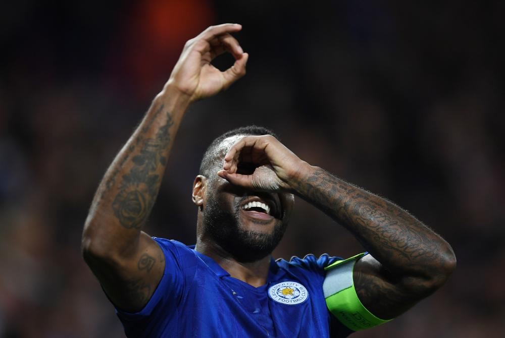 Wes Morgan celebrates his goal.